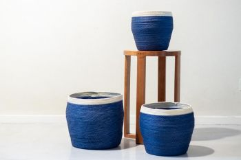 Set 3 Canastos Seagrass Blue